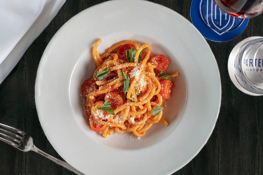 Spaghetti allo Scarpariello is one of chef Dino Santonicola's pastas on the menu at Partenope Ristorante in downtown Dallas.