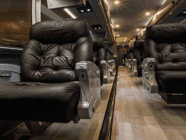 The interior of one of Vonlane's luxury charter buses. The company is adding safety measures that includes required facial coverings as it resumes service this week.