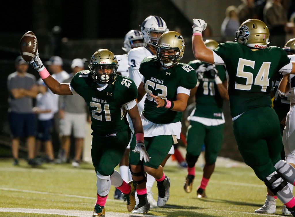 Birdville's Laderrious Mixon (21) celebrates his first rushing touchdown against Richland during their UIL high school football game at Birdville Stadium in North Richland Hills, Texas, on October 16, 2017. (Michael Ainsworth/Special Contributor)