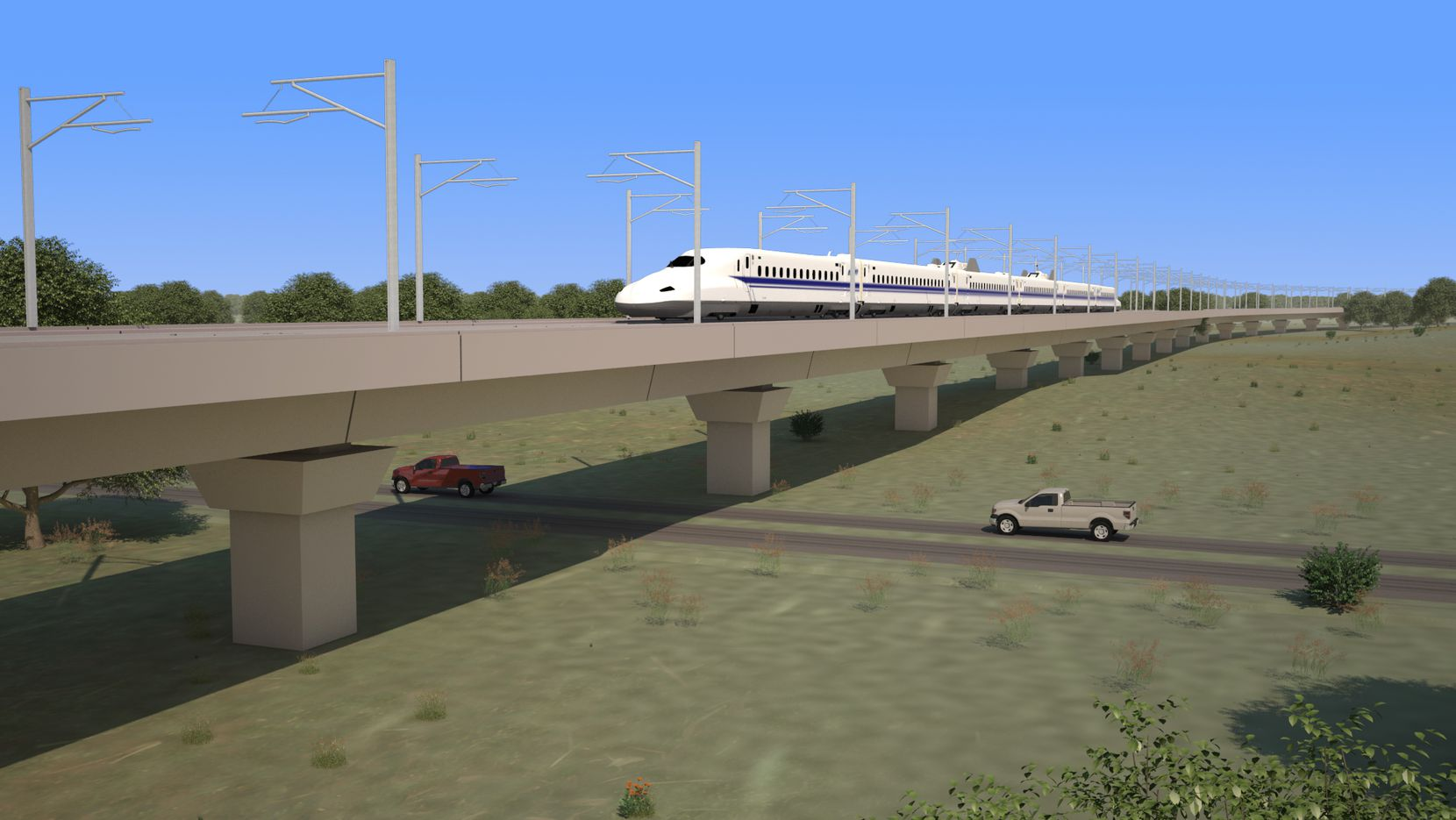 Portions of the Texas high-speed rail could be above ground in areas where tracks can't run on the ground.