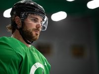 Stars center Tyler Seguin during practice on July 14, 2020.