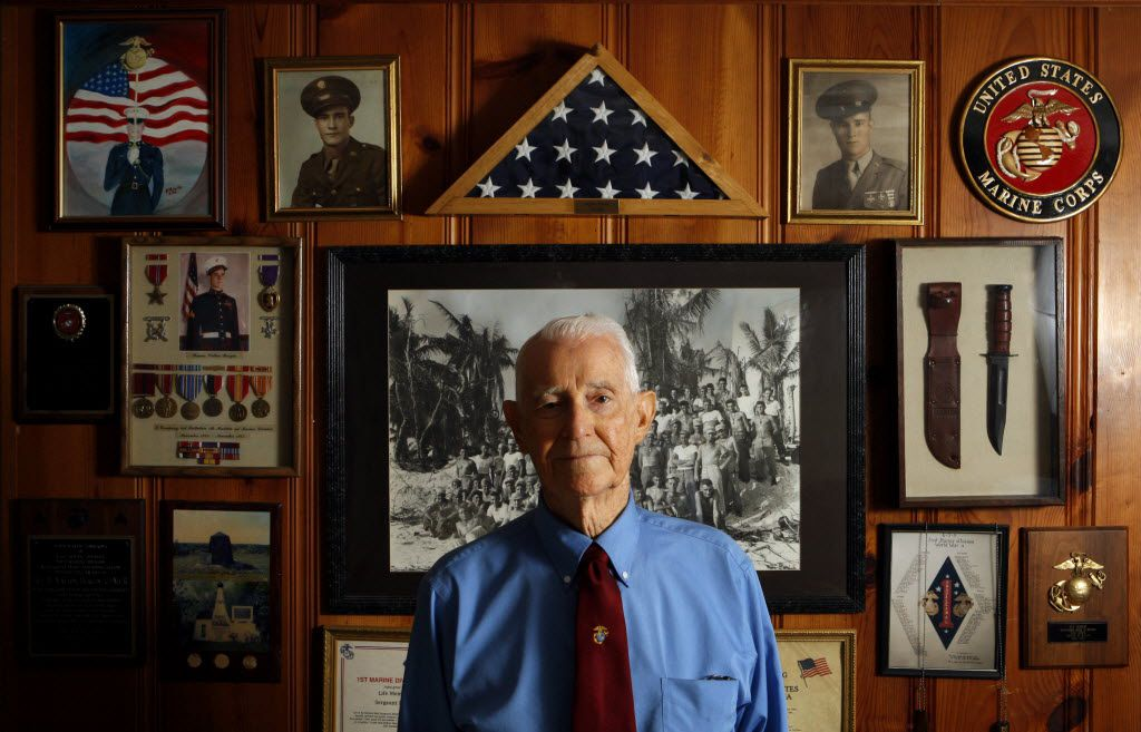 R.V. Burgin posed for a portrait at his home in Lancaster on March 8, 2010. Burgin, who served in the Marines in World War II, died April 6, 2019, at 96.