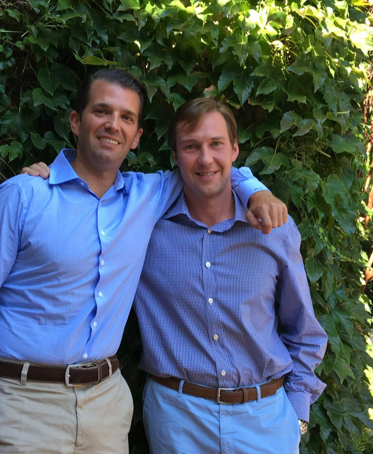 Donald Trump Jr. (left) visited Dallas in July for a fundraiser. He's shown here with Tommy Hicks Jr. at Hicks' Preston Hollow home.
