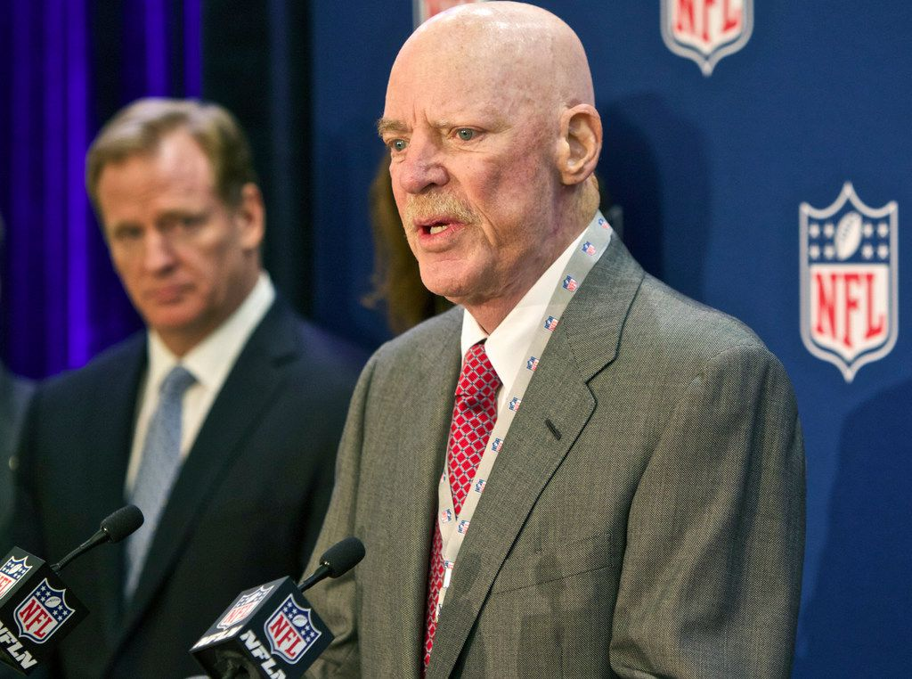 Houston Texans owner Bob McNair speaks at an NFL press conference in 2014 during an owners meeting, in Irving.