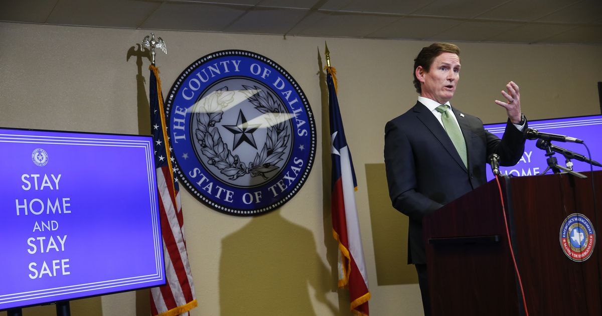Dallas County Judge Clay Jenkins speaks during a press conference on Thursday, June 25, 2020 in Dallas. (Ryan Michalesko/The Dallas Morning News)