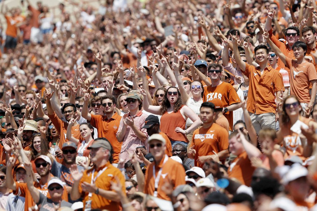 AUSTIN, TX - SEPTEMBER 02: Texas Longhorns fans celebrate the start of the fourth quarter against the Maryland Terrapins at Darrell K Royal-Texas Memorial Stadium on September 2, 2017 in Austin, Texas. (Photo by Tim Warner/Getty Images)