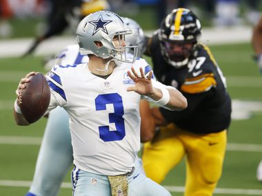Dallas Cowboys quarterback Garrett Gilbert (3) attempts a pass in a game against the Pittsburgh Steelers during the first quarter of play at AT&T Stadium in Arlington, Texas on Sunday, November 8, 2020. (Vernon Bryant/The Dallas Morning News)