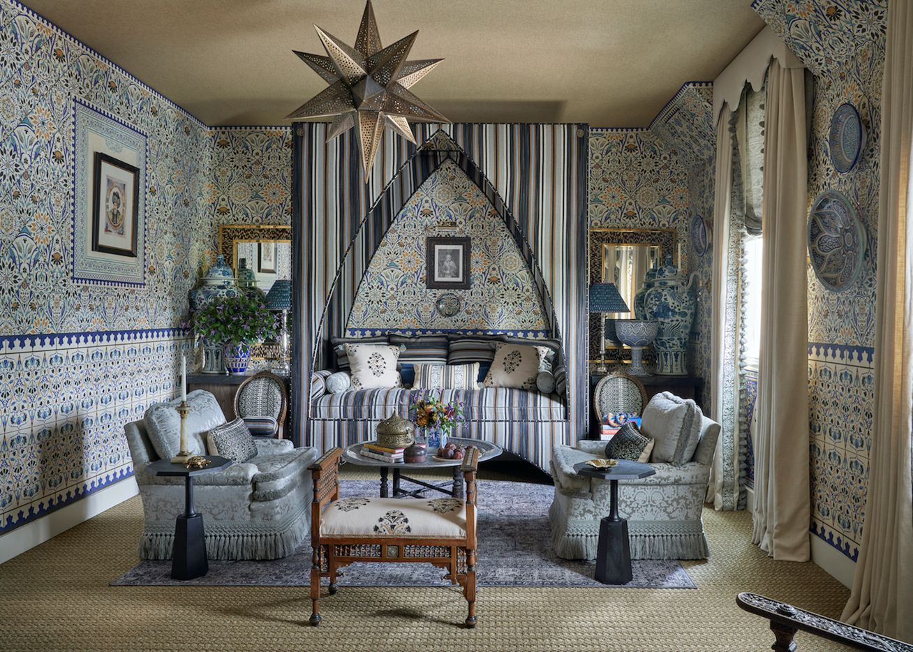 A bedroom at the Kips Bay Decorator Show House Dallas. This room was designed by Michelle Nussbaumer.