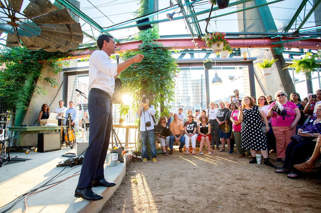 Rep. Beto O'Rourke, a Democrat looking to unseat incumbent Republican Sen. Ted Cruz, speaks at a rally, Thursday, May 24, 2018 at Mudhen Meat and Greens in Dallas.