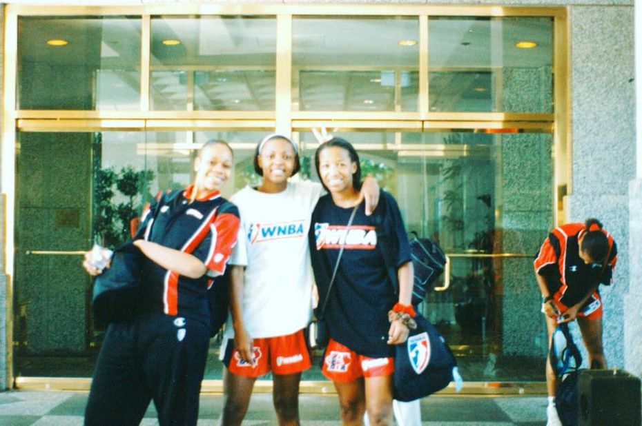 Fran Harris (center) and teammates from the WNBA 1997 Houston Comets. Harris is leading a project to build a large youth sports complex in Forney since the city's last one shut down in 2016.