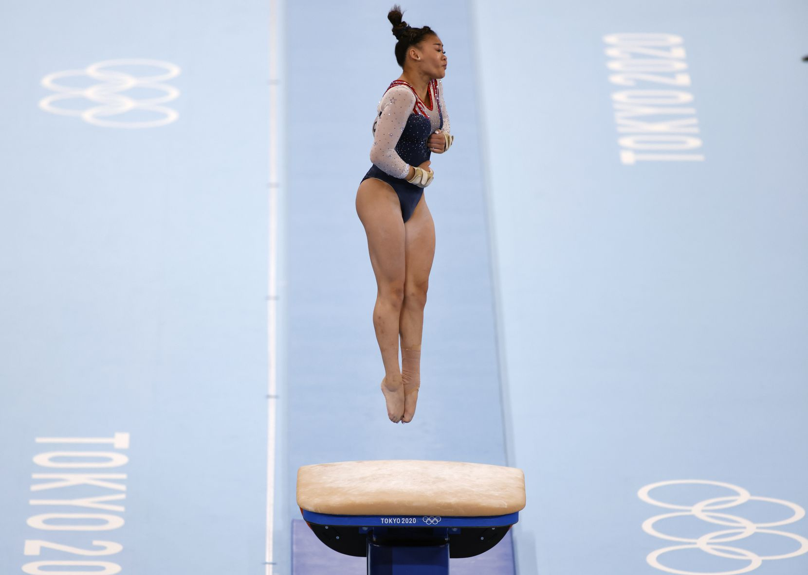 USA's Sunisa Lee competes on the vault during the women's all-around final at the postponed 2020 Tokyo Olympics at Ariake Gymnastics Centre, on Thursday, July 29, 2021, in Tokyo, Japan. Lee won the all-around earning a gold medal. (Vernon Bryant/The Dallas Morning News)
