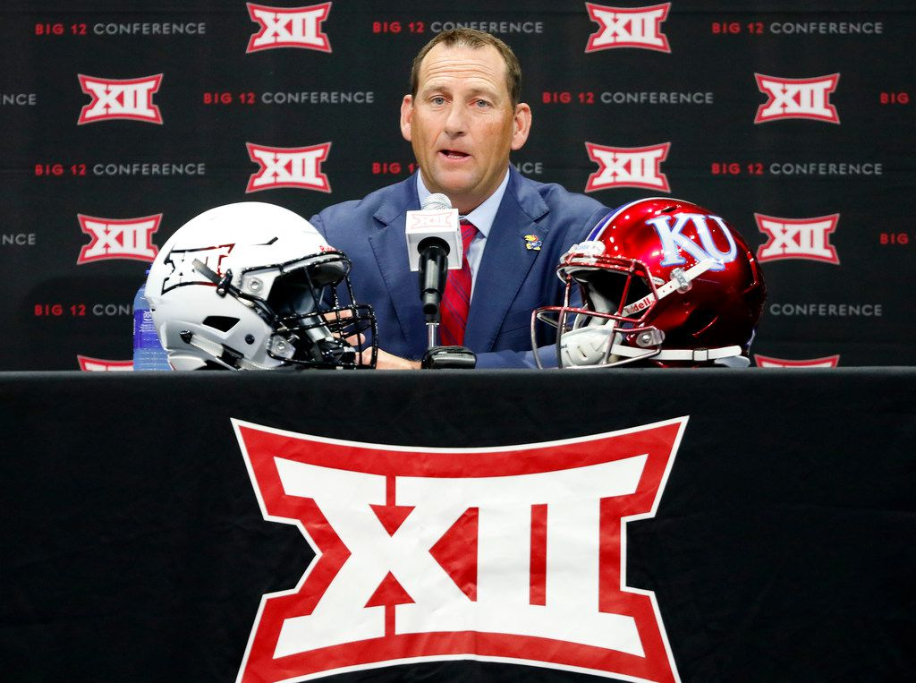 FILE - Kansas head football coach David Beaty speaks during Big 12 Media Day at Ford Center at The Star in Frisco, Texas, Monday, July 16, 2018. (Jae S. Lee/The Dallas Morning News)