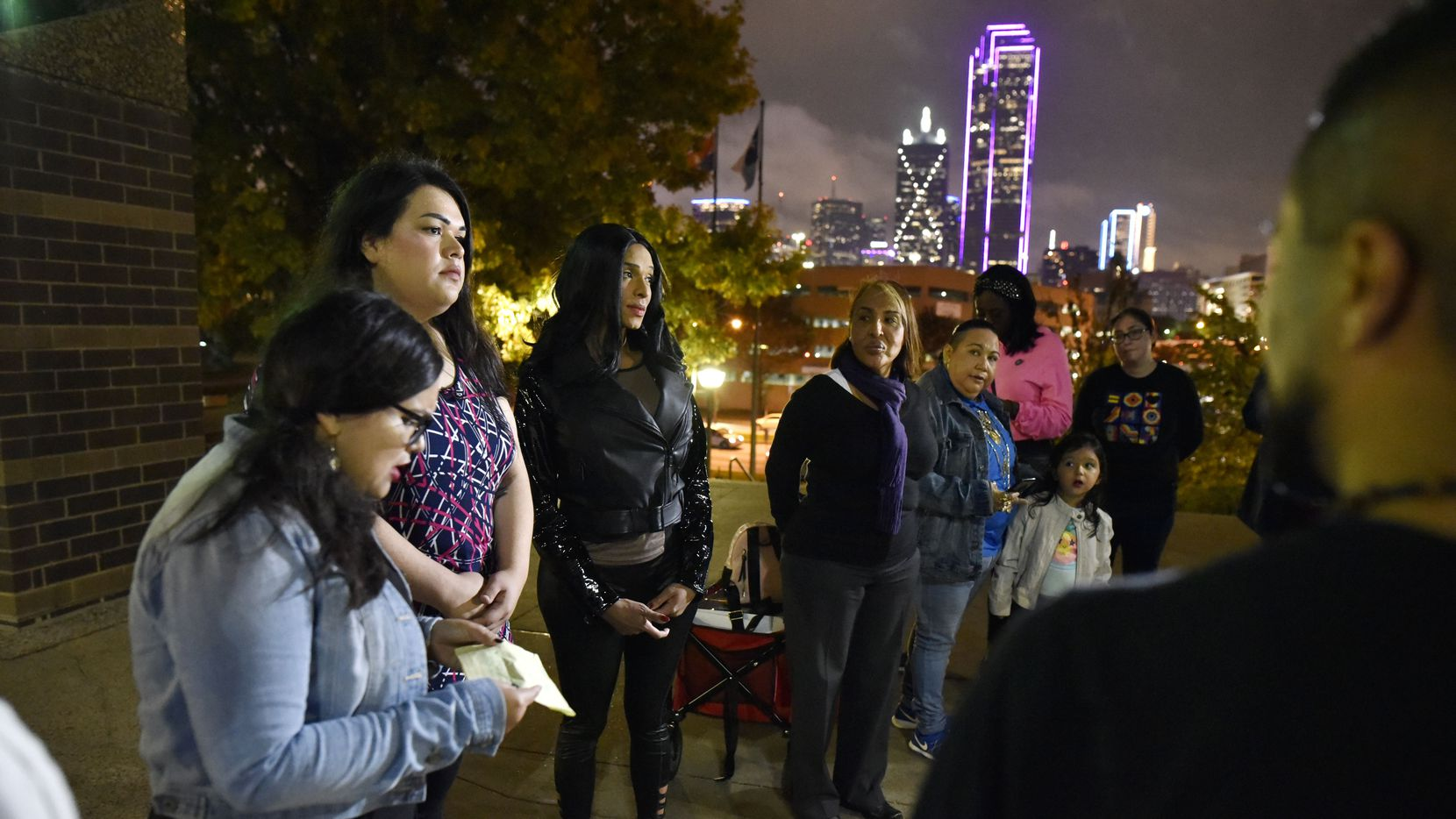 Angelica Andrade, far-left, of the North Texas Dream, speaks during a rally in support of transgender woman Daniela Calderon-Rivera, third from left, and to call on the Dallas Police and Sheriffs Department to bring Rivera's shooter to justice, outside the Frank Crowley Criminal Courts Building in Dallas, Nov. 21, 2019.  The shooter, Domingo Rameriez-Cayente, was released from jail on a $25,000 bond. Ben Torres/Special Contributor