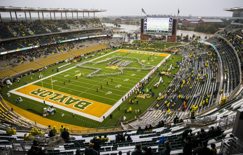 The Brazos River swells at the edge of McLane Stadium on Saturday, October 24, 2015 after heavy rains in Waco, Texas.   (Ashley Landis/The Dallas Morning News)