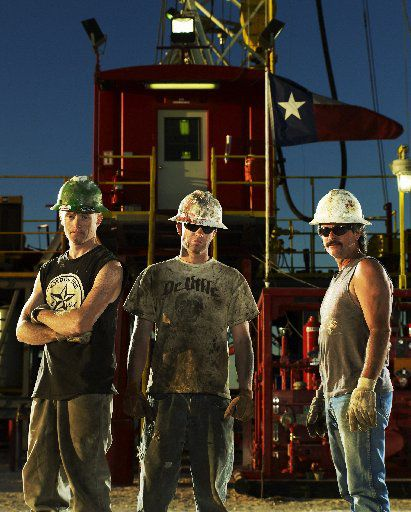 """In this image released by truTV, roughnecks, from left, Steve Cooper, Bryson Pursley and Wayne Courtney are shown in Odessa  in March 2008 for the series """"Black Gold."""