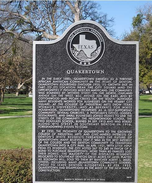 """A state historical plaque air brushes the city's terrible actions by claiming that """"civic-minded"""" residents """"believed it was in the best interest of the college and the Denton community to transform the area into a city park."""""""
