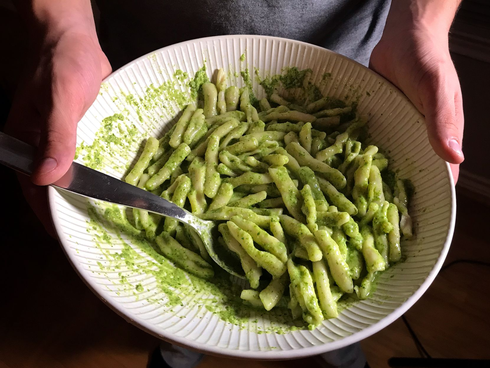Cavatelli pasta with pesto sauce