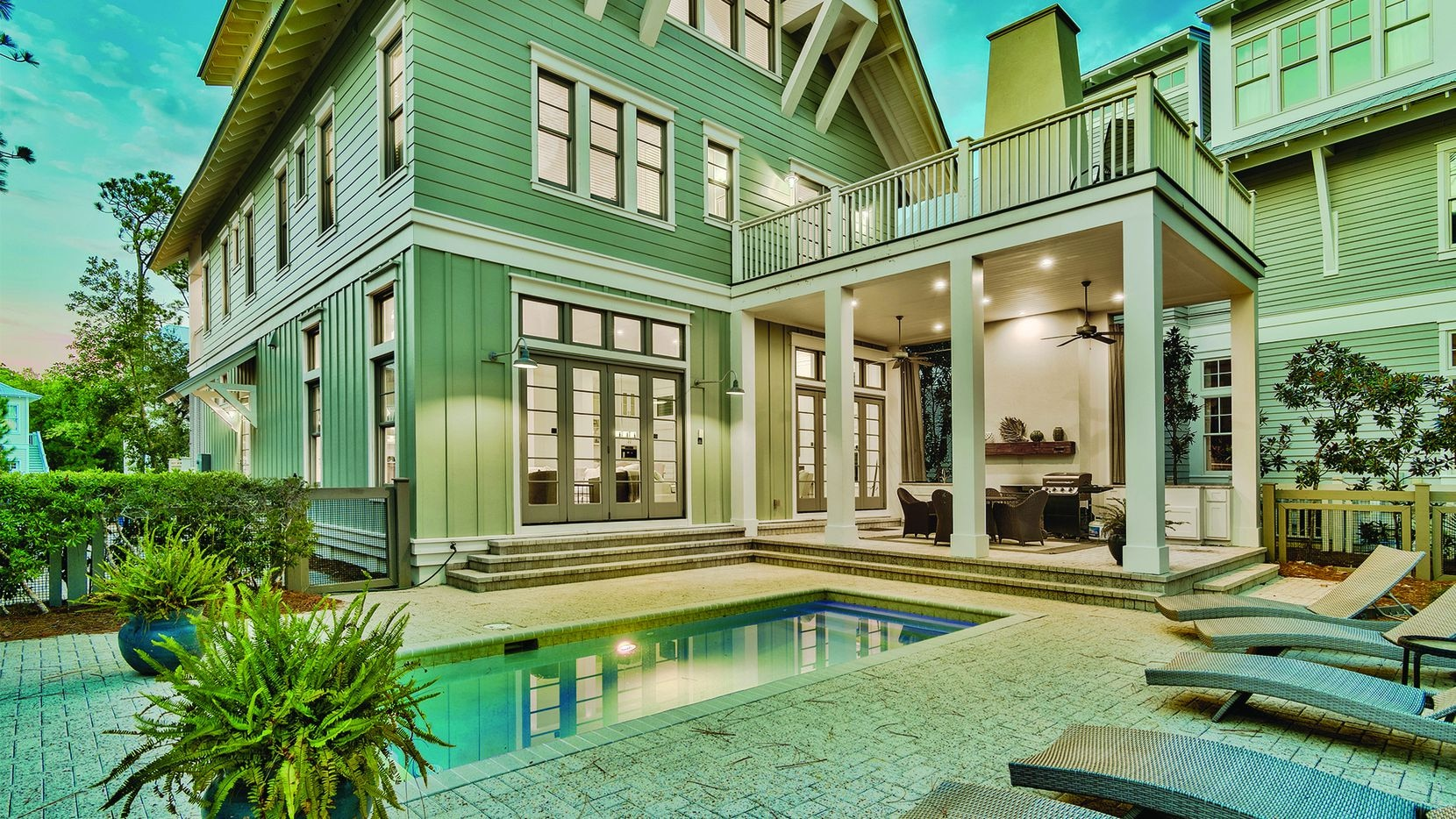 The seven-bedroom coastal estate at 93 Vermilion Way in Watercolor, Florida, will sell at auction at noon on Nov. 19 by Luxury Estates Auction Company.