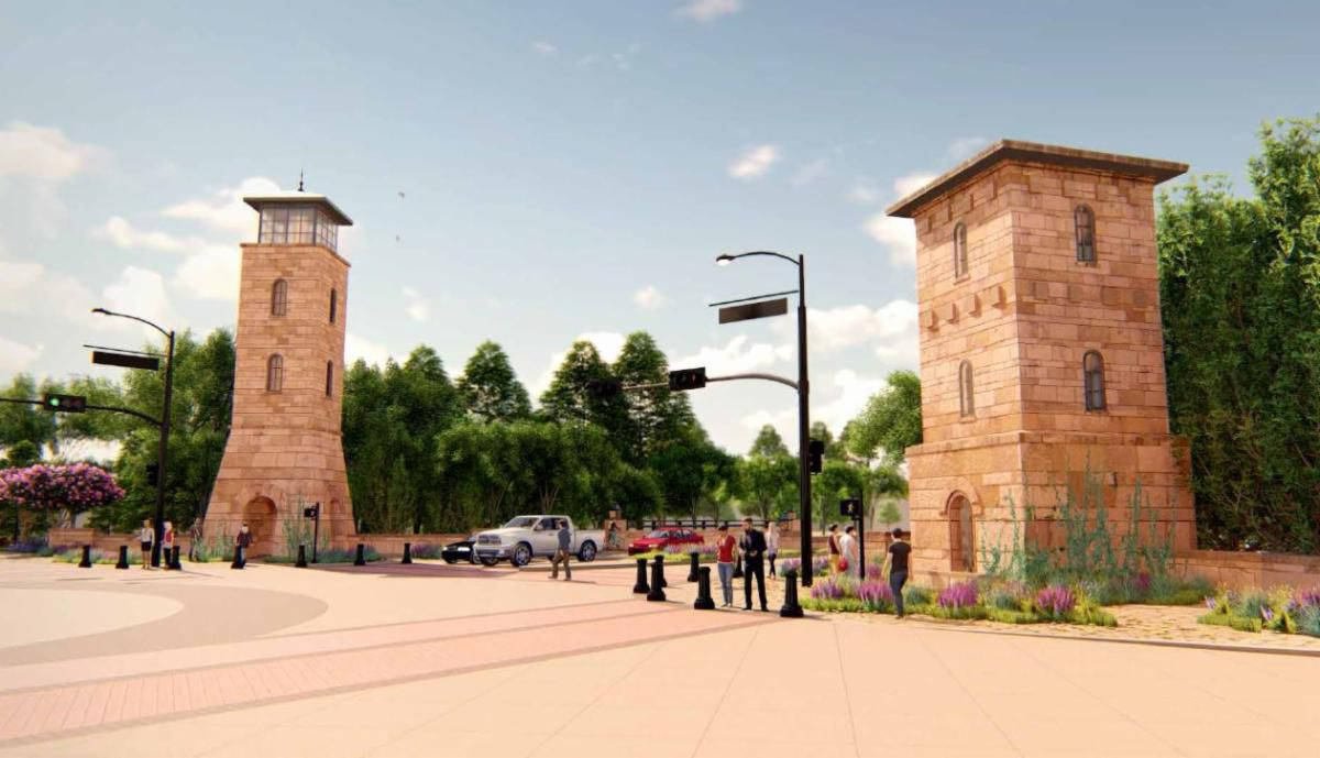 The contract to construct three tower-like gateways along State Highway 26 in Colleyville has been awarded.