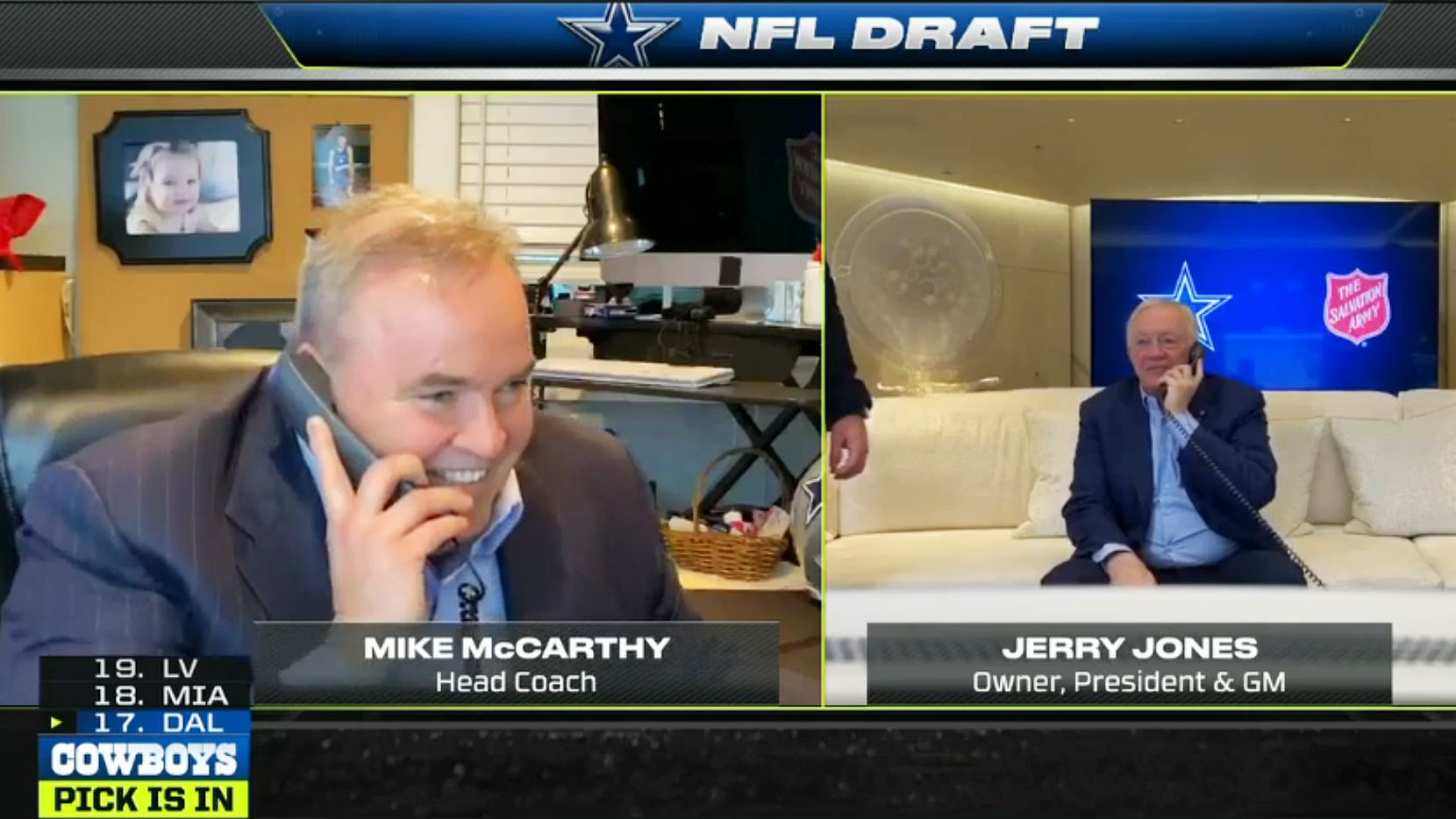 Screen capture Dallas Cowboys head coach Mike McCarthy (left) and Dallas Cowboys owner and general manager Jerry Jones as they make the 17th pick CeeDee Lamb of Oklahoma 1 in the first round of the NFL Draft on Thursday, April 23, 2020. Due to the coronavirus pandemic the NFL Draft was held virtually. (ESPN)