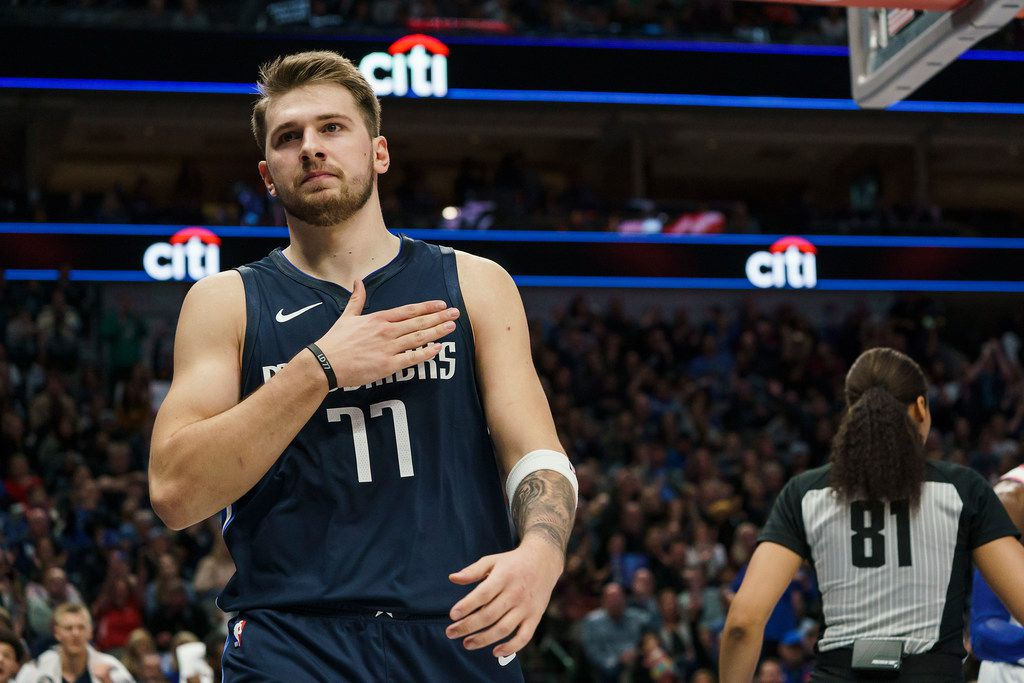 Mavericks guard Luka Doncic (77) celebrates a basket during the first half of a game against the New York Knicks at American Airlines Center on Friday, Nov. 8, 2019, in Dallas.