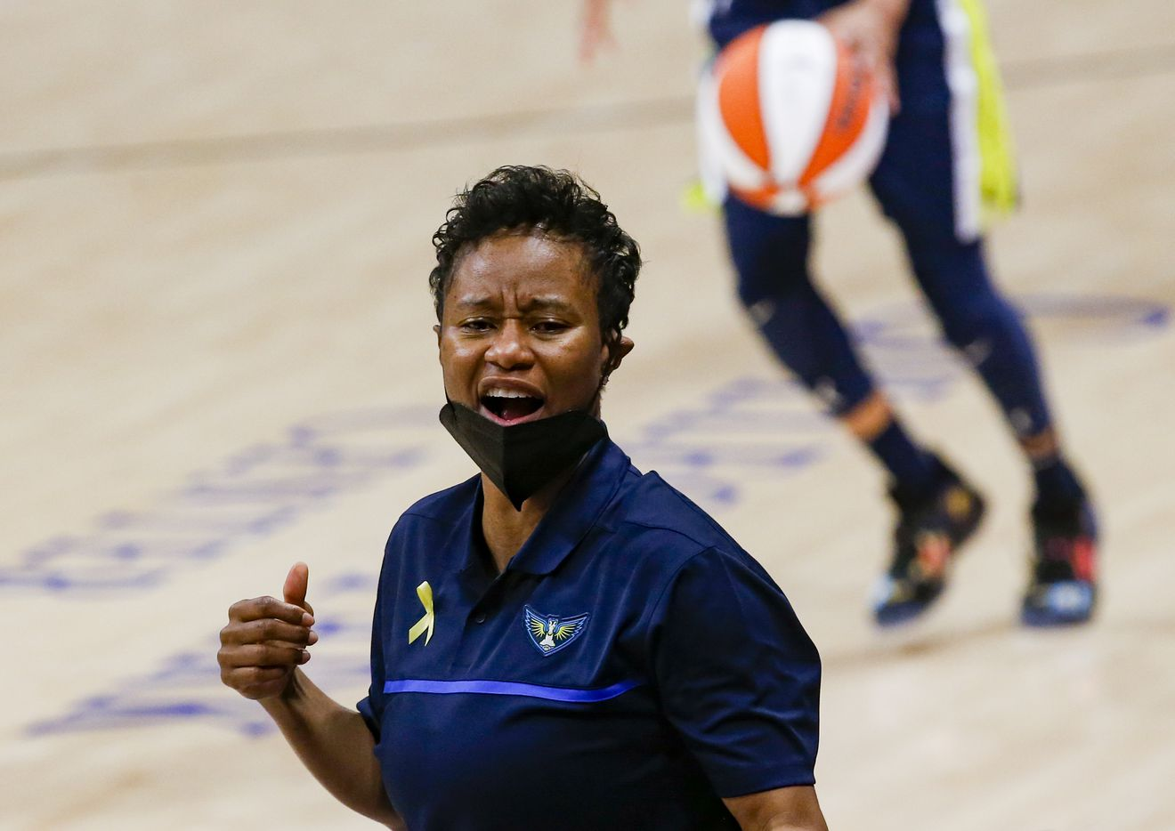 Dallas Wings coach Vickie Johnson on the sideline during the second quarter against the Los Angeles Sparks at College Park Center on Tuesday, June 1, 2021, in Arlington. (Juan Figueroa/The Dallas Morning News)