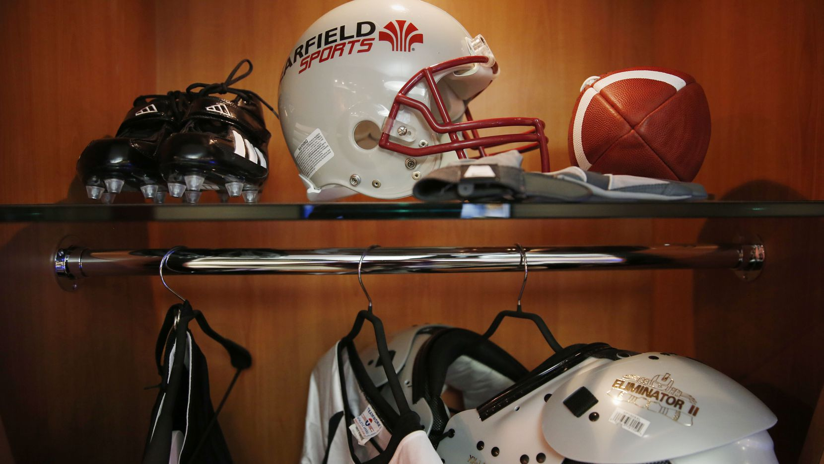 The lobby of Learfield's Plano headquarters includes a mock locker room.