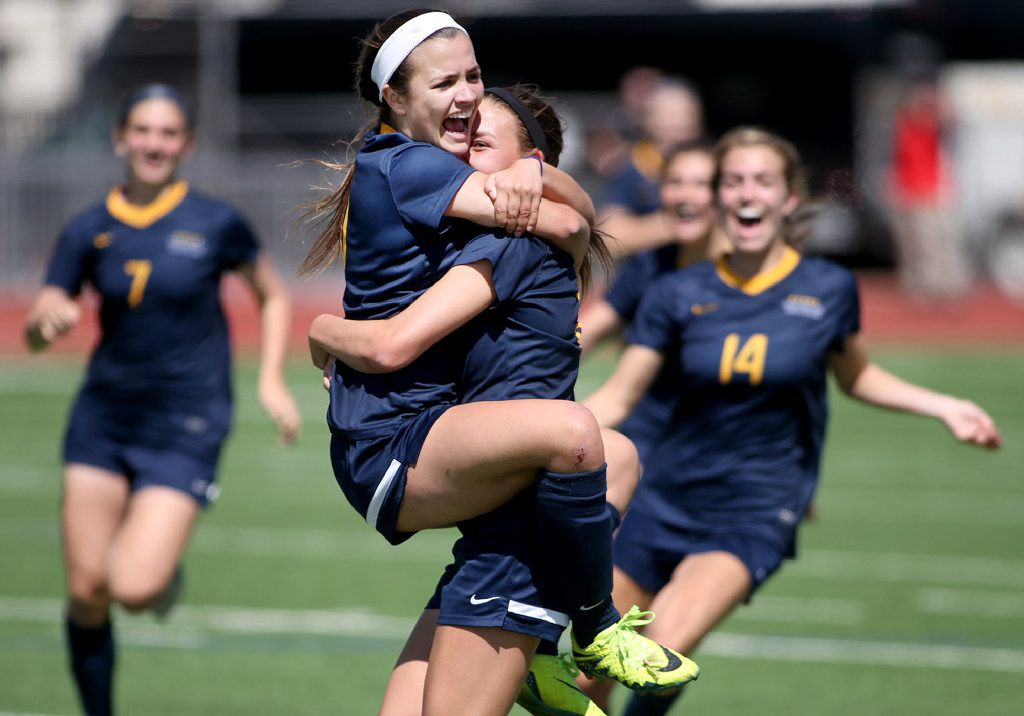Highland Park's, Rachel Wasserman (8) celebrates her late second-half goal with Presley Echols (10) against Mansfield Lake Ridge during the Class 5A Regional II semifinals at Standridge Stadium on Friday, April 07, 2017. (Rick Moon/Special contributor)