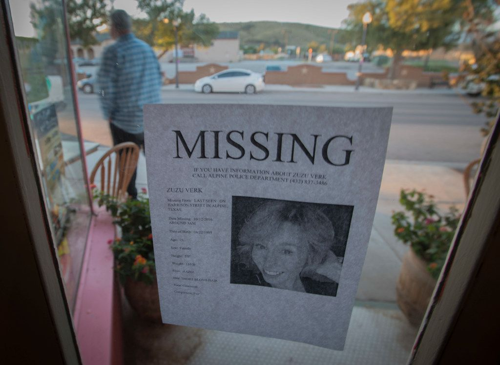 A leaflet taped to the window of an Alpine business gave a full description of Zuzu Verk, a Sul Ross State University junior who was last seen October 12, 2016, in Alpine. Searchers from several agencies combed Brewster County, an area larger than the state of Connecticut, looking for signs of her.