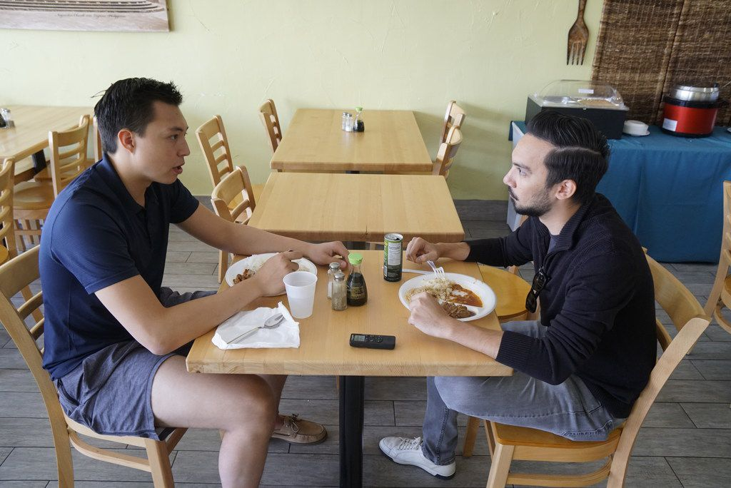 Dallas Stars prospect  Jason Robertson (left) has lunch with Dallas Morning News sports writer Matt DeFranks at Kainan Sa Laguna in Plano, Texas on Thursday, June 25, 2019.  (Lawrence Jenkins/Special Contributor)
