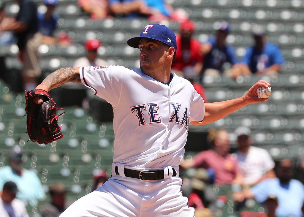 ARLINGTON, TEXAS - JUNE 08: Joe Palumbo #62 of the Texas Rangers pitches in the second inning of game one of a doubleheader against the Oakland Athletics at Globe Life Park in Arlington on June 08, 2019 in Arlington, Texas. (Photo by Richard Rodriguez/Getty Images)