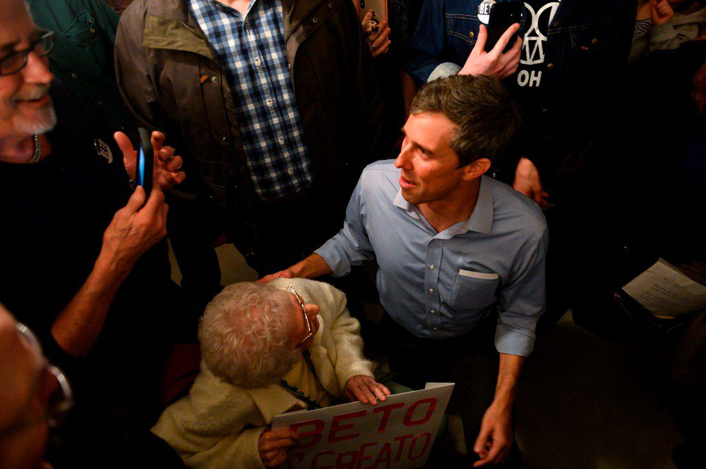 Former Texas Congressman and Democratic party Presidential candidate Beto O'Rourke greets attendees after speaking during a campaign stop in Muscatine, Iowa, on March 14, 2019. Beto O'Rourke, a skateboarding former punk rocker feted as one of the Democratic Party's rising stars, announced he is running for president — joining a crowded field of candidates vying to challenge President Donald Trump in 2020.