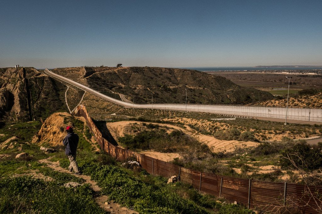 Multiple walls run along the border between Tijuana, Mexico, and the United States.