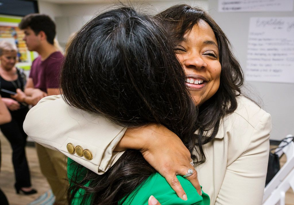 Lavinia Masters hugs Rep. Victoria Neave after Governor Greg Abbott signed House Bill 8 during a bill signing ceremony at New Friends New Life on Tuesday, June 4, 2019, in Dallas. House Bill 8 is named after Masters, Ša Dallas survivor whose rape kit sat on a shelf Šfor more than 21 years Šafter she was raped at knifepoint in her home when she was 13. The Governor signed legislation related to human trafficking and the elimination of the rape kit backlog.