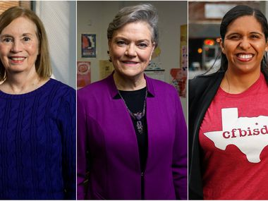 Candidates in the March 3 Democratic primary for Texas' 24th Congressional District include Jan McDowell (left), Kim Olson and Candace Valenzuela.