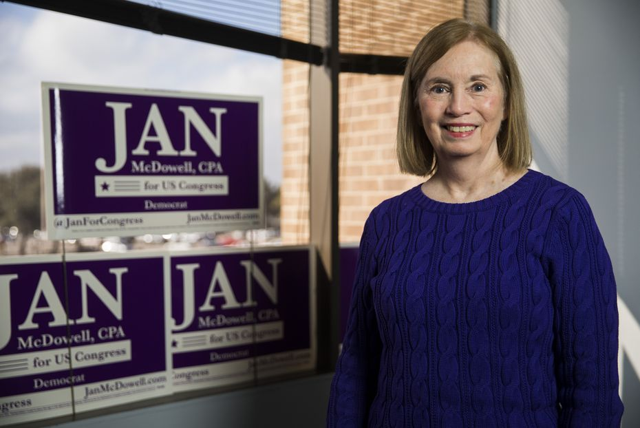 Jan McDowell at her campaign office on Jan. 28, 2020 in Carrollton. (Ashley Landis/The Dallas Morning News)