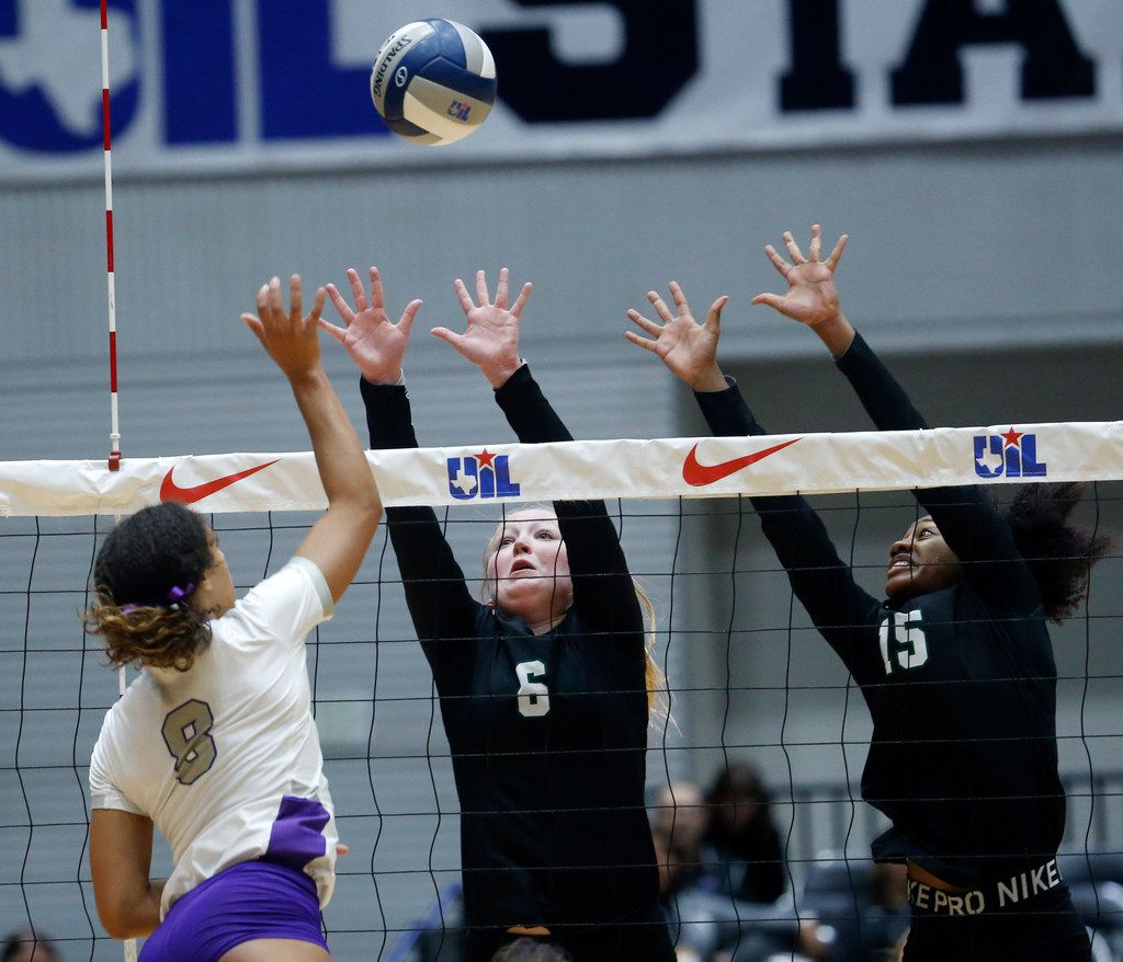 Kennedale's Bridget Barton (6) and Alexandra Youngblood (15) attempt fail to block Fulshear's Alexis Dacostra (8) hit during a Class 4A volleyball state semifinal matchat the Curtis Culwell Center in Garland, on Thursday, November 21, 2019. Fulshear won three straight sets 25-14, 25-11 and 25-20 to advance to the state final.