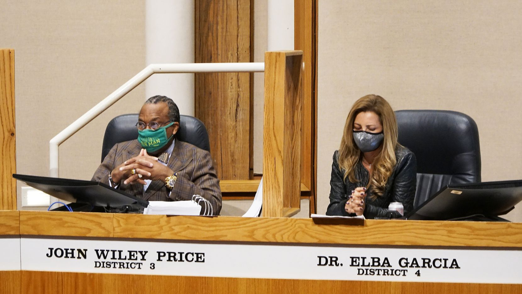 Dallas County Commissioners John Wiley Price and Dr. Elba Garcia met for their regular bimonthly meeting Jan. 5, 2021. Among the topics was COVID-19 vaccinations. Both county commissioners expressed concern over public messaging on the availability of the vaccine.  (Lawrence Jenkins/Special Contributor)