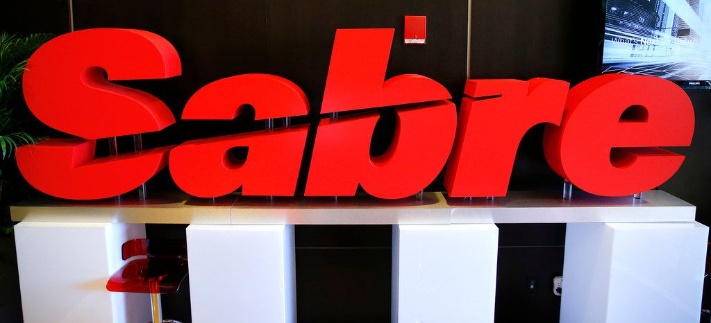 Sabre logo on display at the investor day conference held at the Hilton Southlake Town Square, Tuesday, March 6, 2018.  The technology and software company outlined its strategy for 2018 and surveyed the competitive landscape. (Tom Fox/The Dallas Morning News)