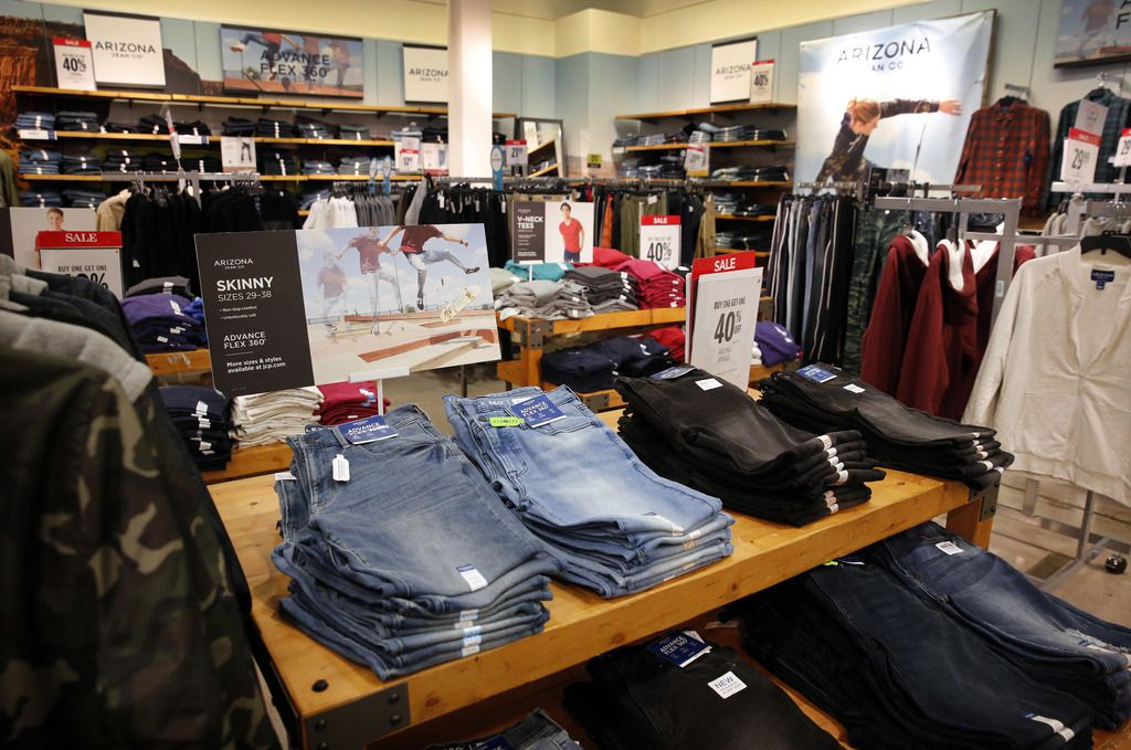 Men's Arizona Jeans brand clothing is on display inside the J.C. Penney at Timber Creek Crossing in Northeast Dallas, Thursday, January 16, 2020. (Tom Fox/The Dallas Morning News)