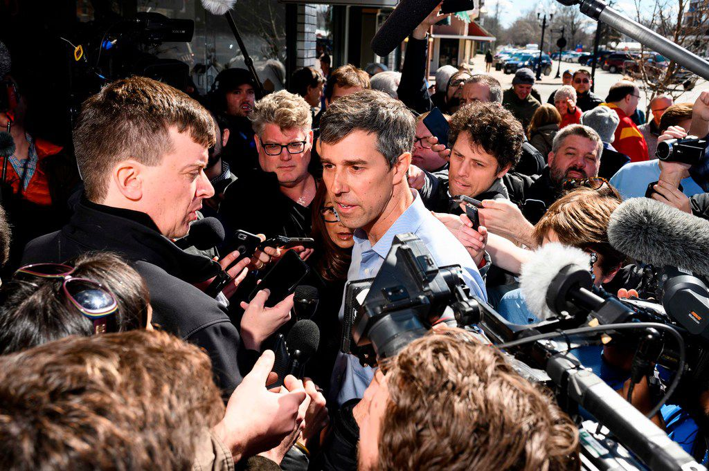 Former Texas Congressman Beto O'Rourke spoke to reporters during a campaign stop Friday in Washington, Iowa.