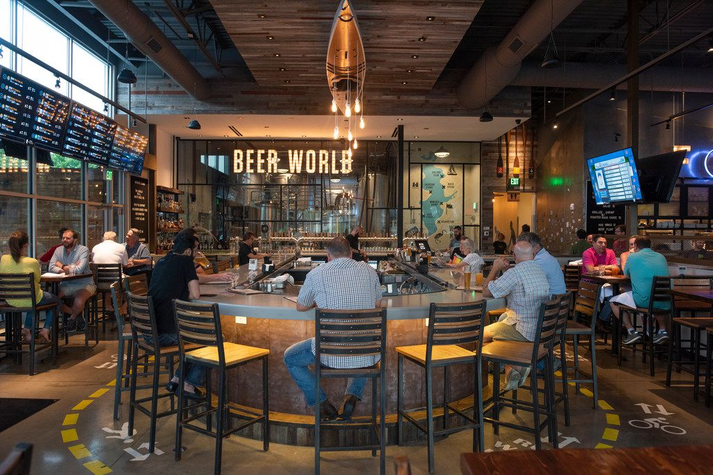 White Rock Alehouse and Brewery makes eight of their beers onsite.  The brewery is located behind the 'beer world' sign.