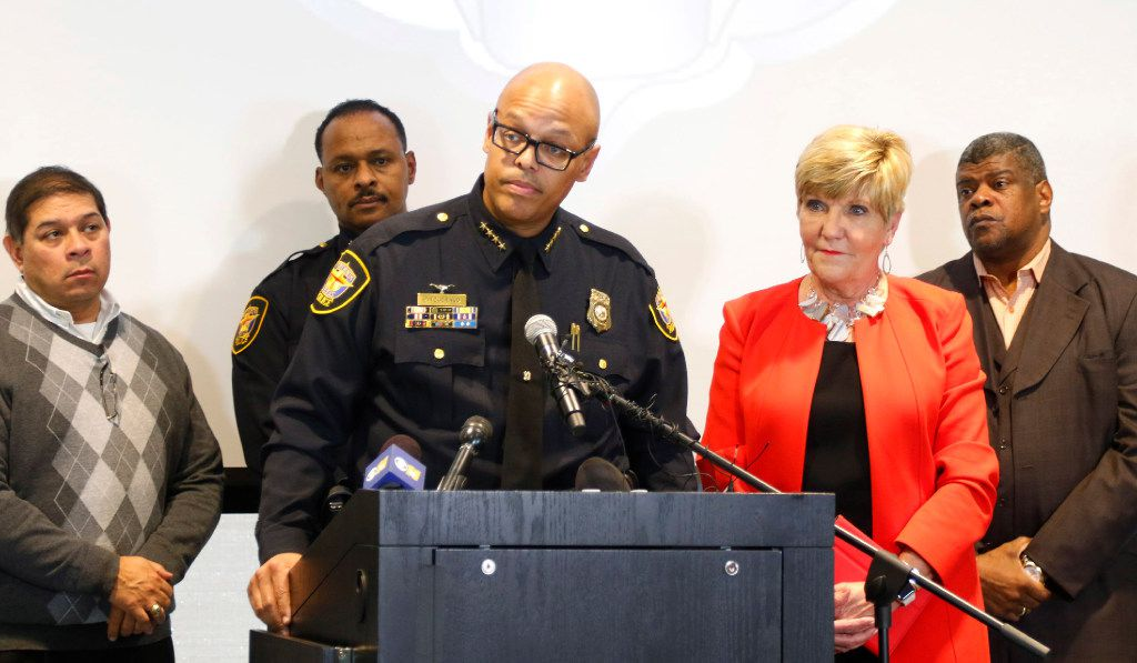 Fort Worth Police Chief Joel Fitzgerald speaks at a press conference to announce the discipline for Officer William Martin, whose arrest of a woman became a viral video on social media, Monday, Jan. 9, 2017.