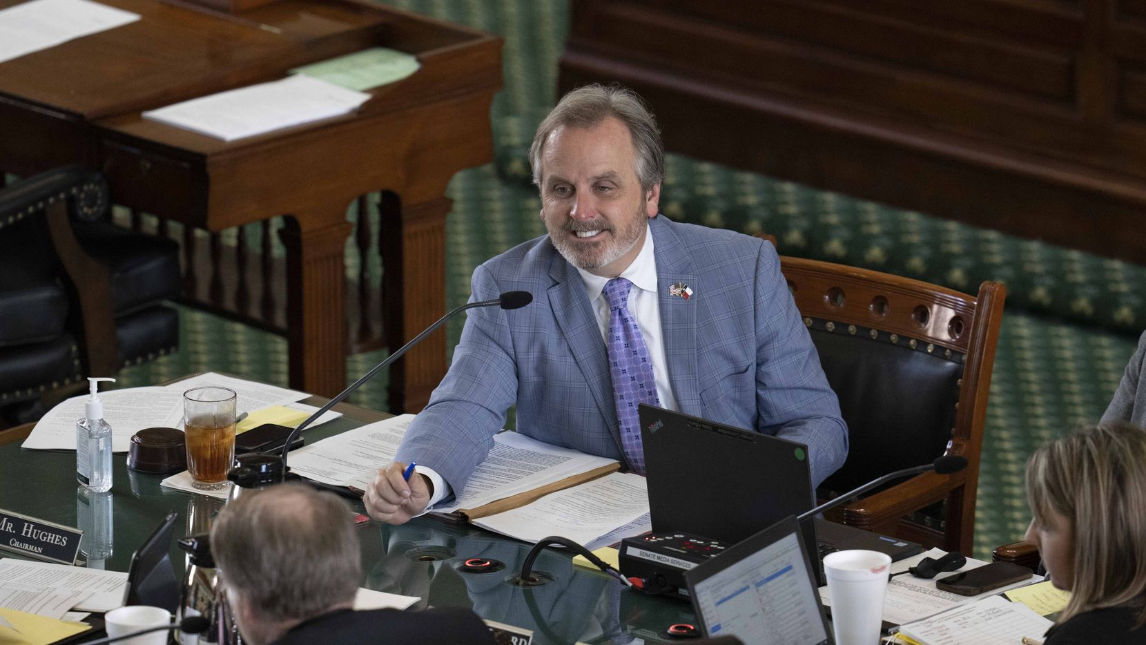 """State Sen. Bryan Hughes, R-Mineola, chair of the State Affairs committee, listens to invited witnesses on SB 3 in the Senate Chamber Thursday, July 15, 2021. The bill seeks to strip required lessons on women and people of color from """"critical race theory"""" law. (Bob Daemmrich/Special Contributor)"""