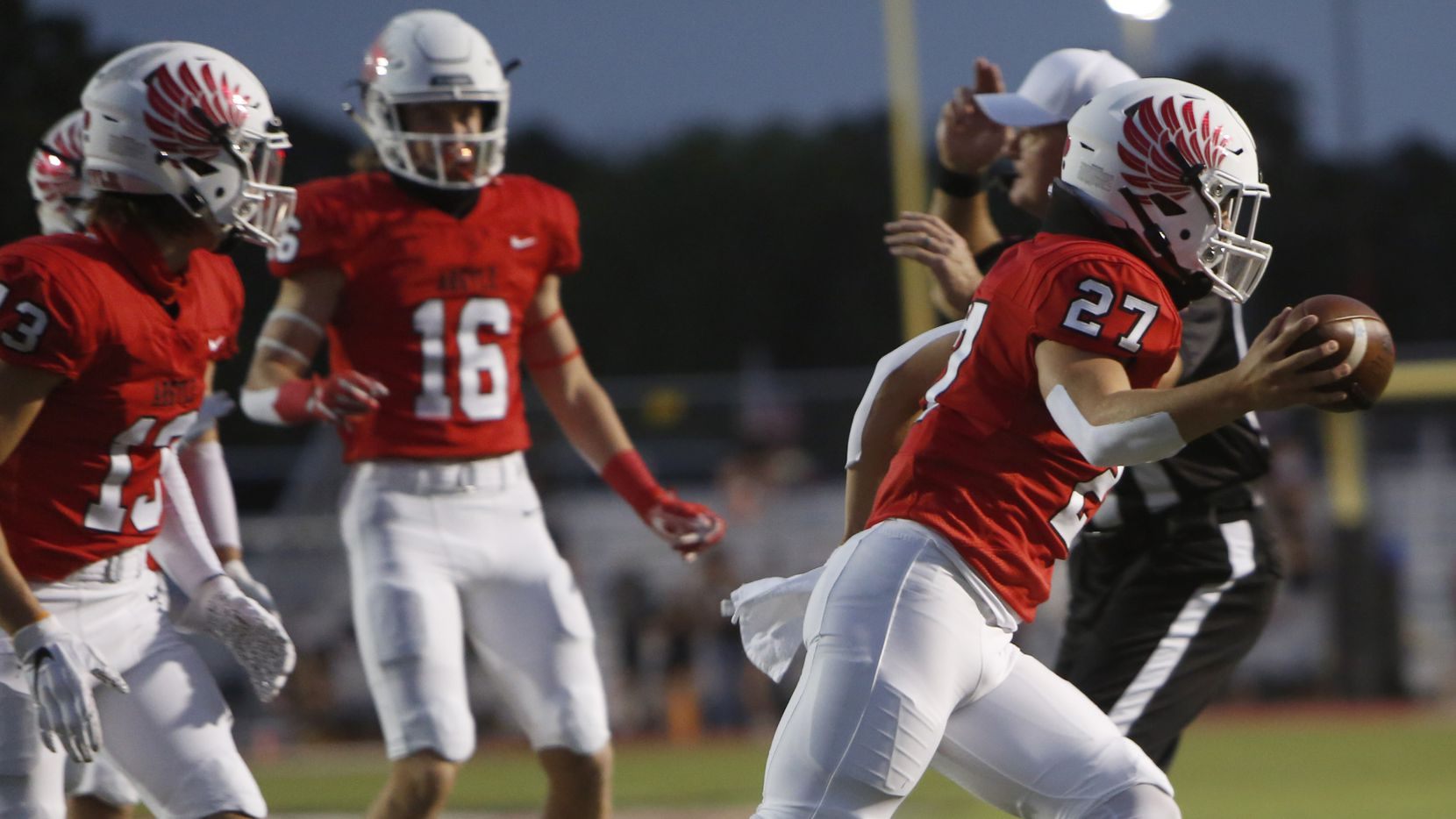 Argyle linebacker Logan May (27) celebrates a first quarter fumble recovery during first quarter action against Waco La Vega. The two teams played their Class 4A football game at Eagle Stadium in Argyle on September 18, 2020.