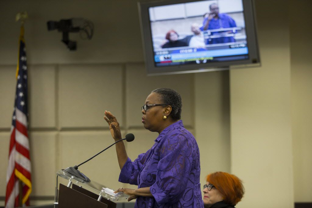 Former City Council member Diane Ragsdale spoke on behalf of Theresa Coleman Wash, executive artistic director and founder of TeCo Theater Productions, during a Housing Committee meeting at Dallas City Hall in 2014.