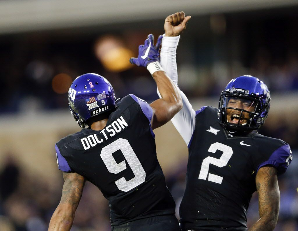 Oct 29, 2015; Fort Worth, TX, USA; TCU Horned Frogs wide receiver Josh Doctson (9) celebrates with quarterback Trevone Boykin (2) after catching a touchdown pass during the first quarter against the West Virginia Mountaineers at Amon G. Carter Stadium. Mandatory Credit: Kevin Jairaj-USA TODAY Sports