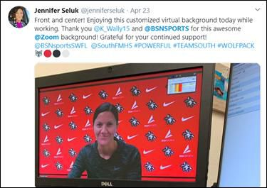 Jennifer Seluk, assistant principal at South Fort Meyers High School in Florida, tweets her thanks for her Zoom background from BSN Sports.