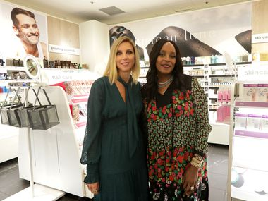 Michelle Wlazlo (left), J.C. Penney's chief merchandising officer, and Nykaio Greico, founder of Thirteen Lune, in Penney's new beauty department at Town East Mall in Mesquite.