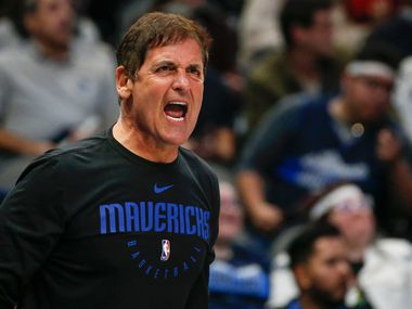 Dallas Mavericks owner Mark Cuban yells to a game official during overtime in a NBA basketball game between the Dallas Mavericks and the Charlotte Hornets on Saturday, Jan. 4, 2019 at American Airlines Center in Dallas.